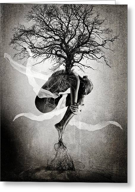 Cracked Photographs Greeting Cards - The Tree of Life Greeting Card by Erik Brede