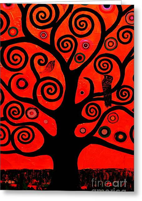 Single-celled Greeting Cards - The Tree Of Life Red Greeting Card by Samantha Black