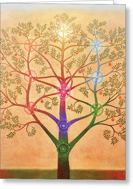 Chakra Paintings Greeting Cards - The Tree of Life Greeting Card by Richard  Quinn