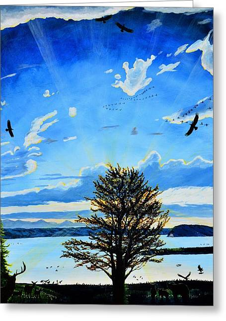 Sea Animals Greeting Cards - The Tree Of Light  Greeting Card by Ken Day