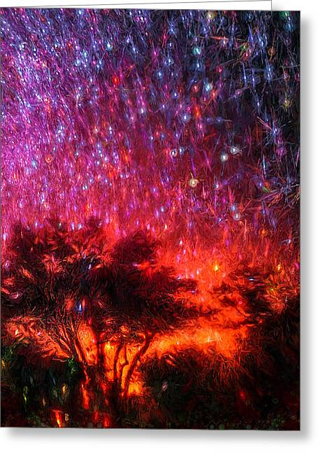 Startrails Digital Greeting Cards - The Tree on the Edge of Forever Greeting Card by Michael Filippoff