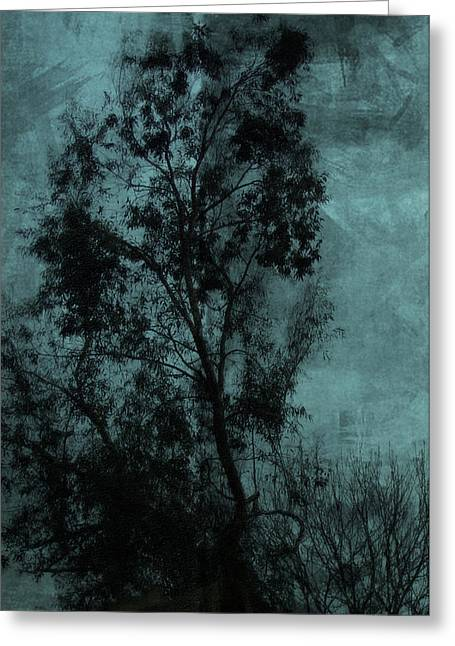 Petrol Green Greeting Cards - The Tree Greeting Card by Sarah Vernon