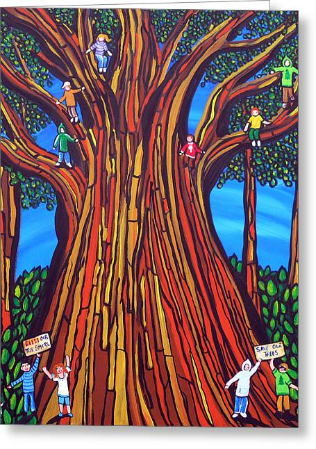 Protesters Paintings Greeting Cards - The Tree Sitters Greeting Card by Renie Britenbucher