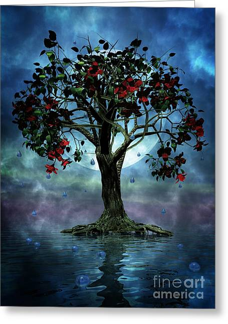 Torn Greeting Cards - The Tree that Wept a Lake of Tears Greeting Card by John Edwards