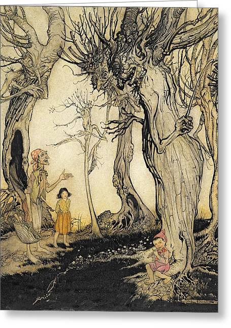Fairies Drawings Greeting Cards - The Trees And The Axe, From Aesops Greeting Card by Arthur Rackham