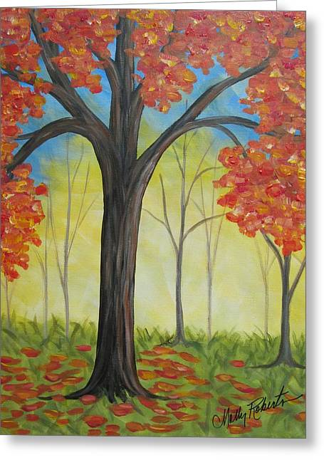 Fall Scenes Paintings Greeting Cards - The Trees Greeting Card by Molly Roberts