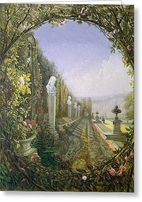 Garden Statuary Greeting Cards - The Trellis Window Trengtham Hall Gardens Greeting Card by E Adveno Brooke