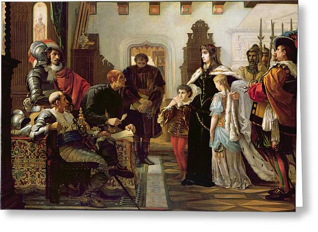 Armour Greeting Cards - The Trial Of Ilona Zrinyi, 1859 Greeting Card by Viktor Madarasz