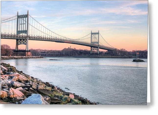 Harlem River Greeting Cards - The Triboro Bridge Greeting Card by JC Findley