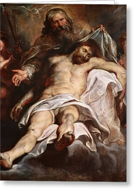 God The Father Greeting Cards - The Trinity Oil On Panel Greeting Card by Peter Paul Rubens