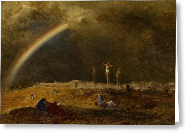 Calvary Greeting Cards - The Triumph at Calvary Greeting Card by George Inness
