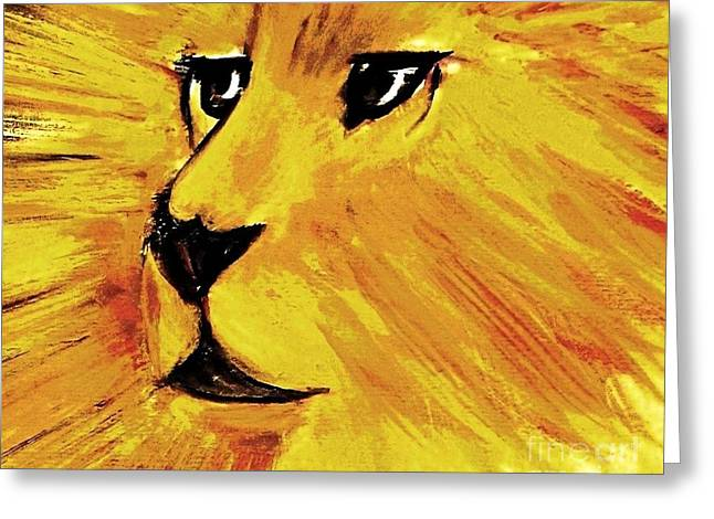 Jesus The Lion Of Judah Greeting Cards - The Triumph of Aslan Greeting Card by Hazel Holland