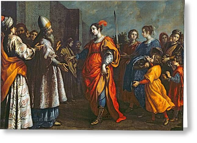 Triumphant Greeting Cards - The Triumph Of Judith, C.1620-30 Oil On Canvas Greeting Card by Francesco Curradi