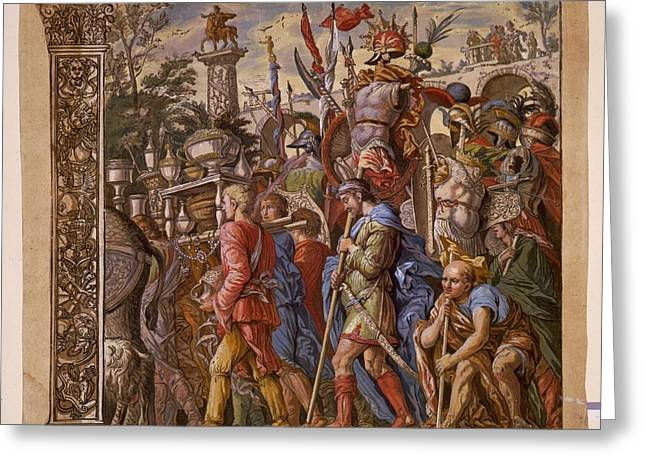 Summary Greeting Cards - The Triumph of Julius Caesar - Plate 6 - 1598 Greeting Card by Andreani and Andrea