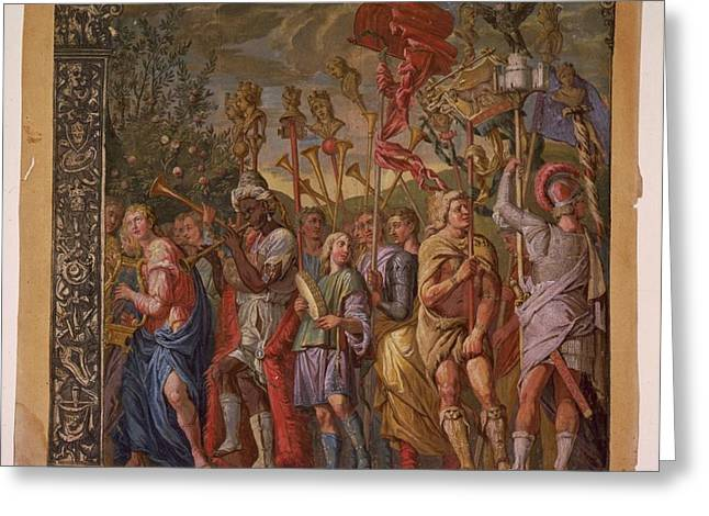Summary Greeting Cards - The Triumph of Julius Caesar - Plate 8 - 1598 Greeting Card by Andreani and Andrea