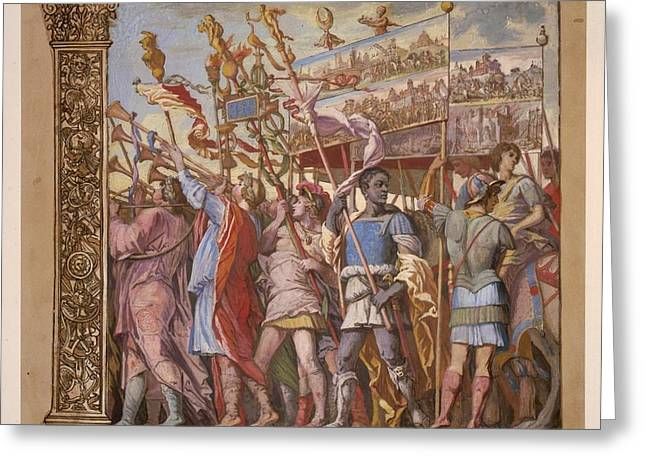 Summary Greeting Cards - The Triumph of Julius Caesar - Plate 1 1598 Greeting Card by Andreani and Andrea