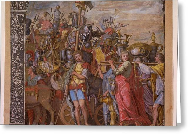 Summary Greeting Cards - The Triumph of Julius Caesar - Plate 3  Greeting Card by Andreani and Andrea