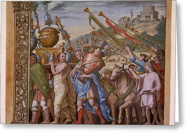 Summary Greeting Cards - The Triumph of Julius Caesar - Plate 4 - 1598 Greeting Card by Andreani and Andrea