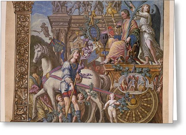 Summary Greeting Cards - The Triumph of Julius Caesar - Plate 9 - 1598 Greeting Card by Andreani and Andrea