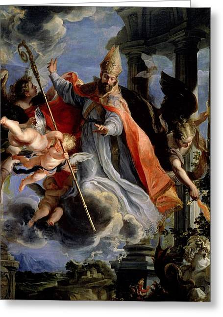 Statue Portrait Greeting Cards - The Triumph Of St. Augustine 354-430 1664 Oil On Canvas Greeting Card by Claudio Coello