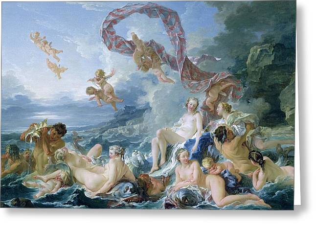 Goddess Of Love Greeting Cards - The Triumph of Venus Greeting Card by Francois Boucher