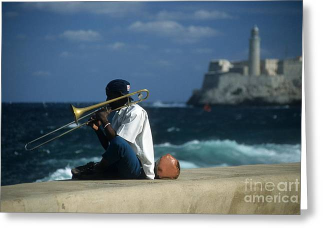 The Trombonist Greeting Card by James Brunker