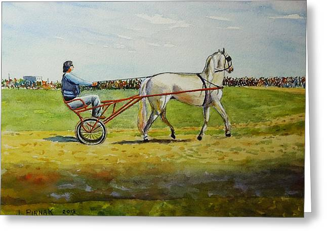 Horse And Buggy Greeting Cards - The Trotter Greeting Card by John Pirnak