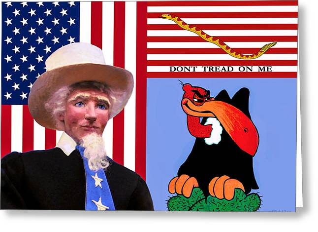 Flag Sculptures Greeting Cards - The True The Blue And The Naughty Greeting Card by David Wiles