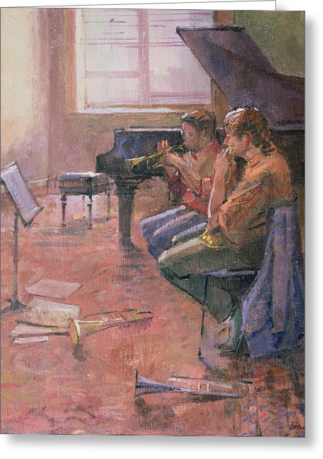 Duet Greeting Cards - The Trumpet Lesson, 1998 Oil On Canvas Greeting Card by Bob Brown