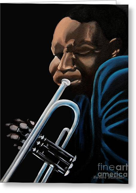 Playing Musical Instruments Greeting Cards - The Trumpeter Greeting Card by Barbara McMahon