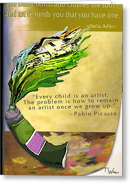 Pablo Picasso Quote Greeting Cards - The Truth About Art Greeting Card by Teresa Weier