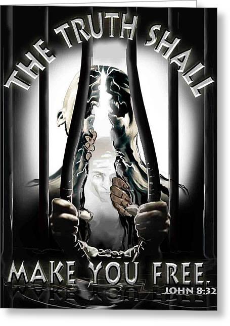 Born Again Digital Greeting Cards - The truth shall make you free. Greeting Card by Ricardo Colon