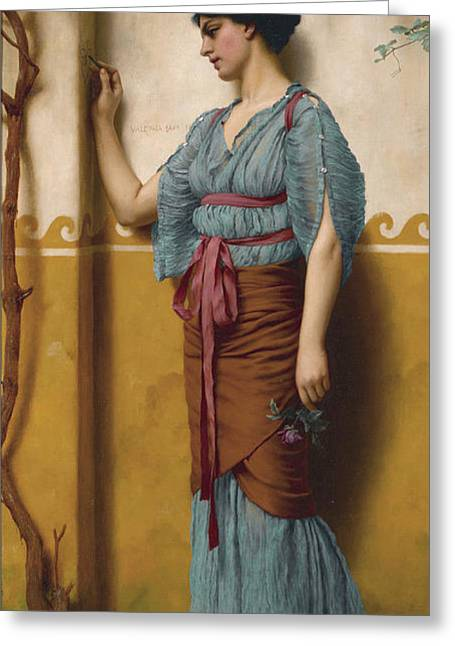 Feminity Greeting Cards - The Trysting Place Greeting Card by John William Godward