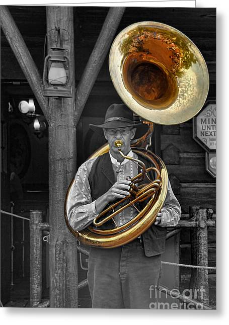 Tubist Greeting Cards - The Tuba Cowboy II Greeting Card by Lee Dos Santos