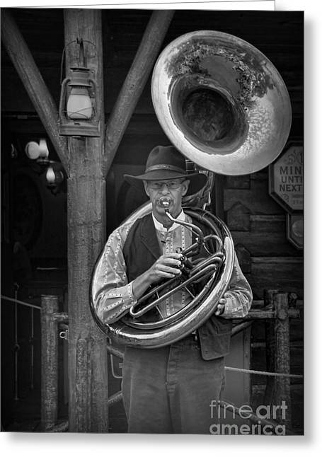 Tubist Greeting Cards - The Tuba Cowboy Greeting Card by Lee Dos Santos