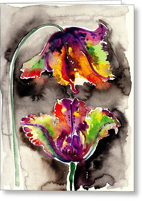 Liebe Greeting Cards - The Tulips Kiss - Watercolor Greeting Card by Tiberiu Soos