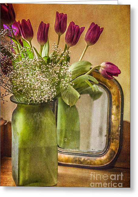 Element Of Light Greeting Cards - The Tulips Stand Arrayed - A Still Life Greeting Card by Terry Rowe