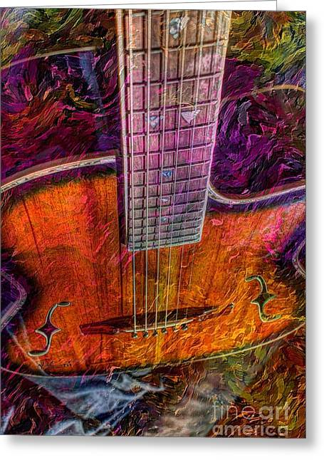 Acoustical Digital Art Greeting Cards - The Tuning of Color Digital Guitar Art by Steven Langston Greeting Card by Steven Lebron Langston