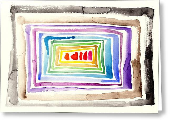 Les Couleur Greeting Cards - The Tunnel - Abstract Slash Watercolor Greeting Card by Tiberiu Soos