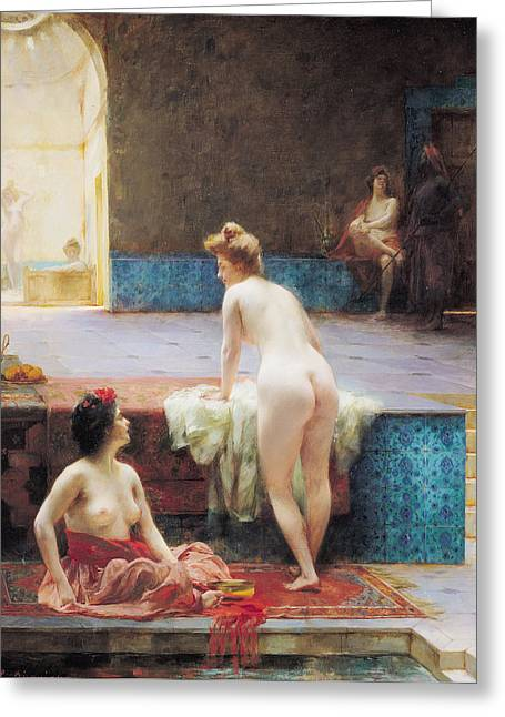Harem Photographs Greeting Cards - The Turkish Bath, 1896 Oil On Canvas Greeting Card by Serkis Diranian