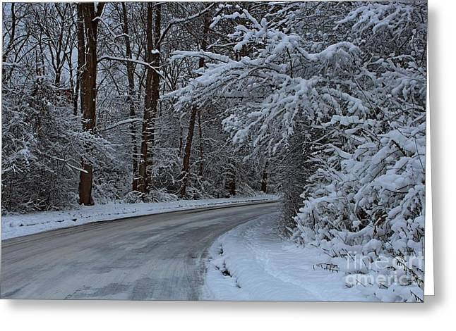 Road Covered With Snow Greeting Cards - The turns. Greeting Card by Dipali S