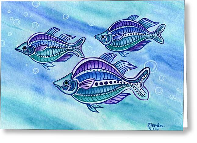 Lori Ziemba Greeting Cards - The Turquoise Rainbow Fish Greeting Card by Lori Ziemba