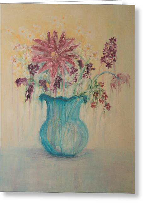 Kpl Greeting Cards - The  Turquoise Vase Greeting Card by Kathy Peltomaa Lewis