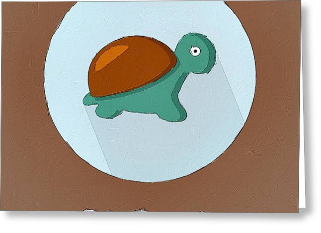 Reptiles Digital Art Greeting Cards - The Turtle Cute Portrait Greeting Card by Florian Rodarte