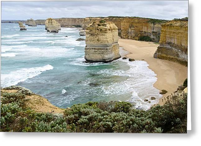 Ocean Panorama Greeting Cards - The Twelve Apostles Greeting Card by Bob VonDrachek