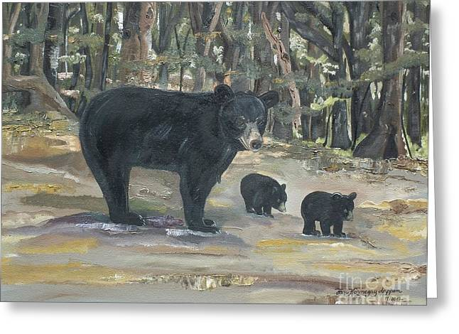 Child With Teddy Bear Greeting Cards - Cubs - Bears - Goldilocks and the Three Bears Greeting Card by Jan Dappen