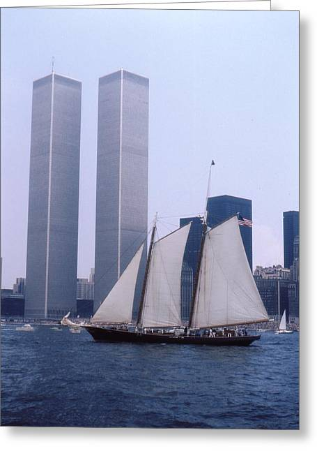 Historic Schooner Greeting Cards - The Twin Towers With The Schooner America 4th july 1976 Greeting Card by Terence Fellows