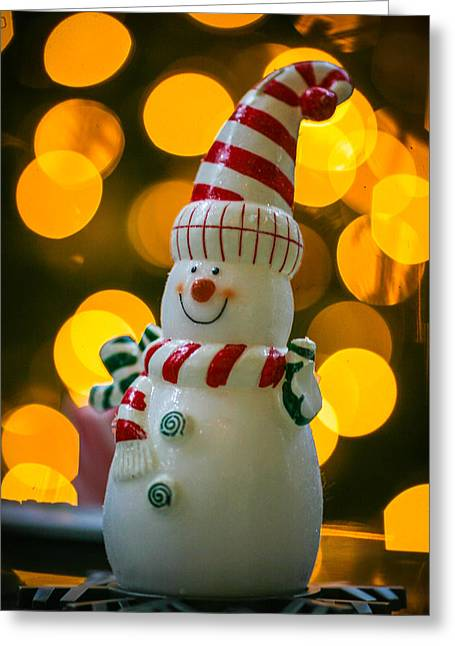 Button Nose Greeting Cards - The Twinkle of a Snowman Greeting Card by Robby Green