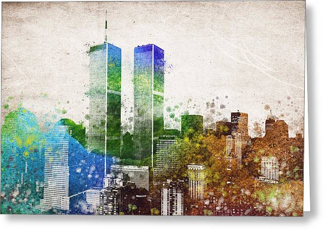 Center City Mixed Media Greeting Cards - The Twins Greeting Card by Aged Pixel