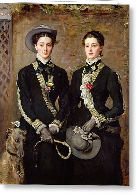 The Twins, Portrait Of Kate Edith Greeting Card by Sir John Everett Millais